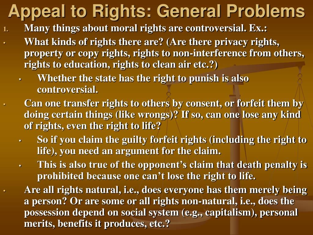 Appeal to Rights: General Problems