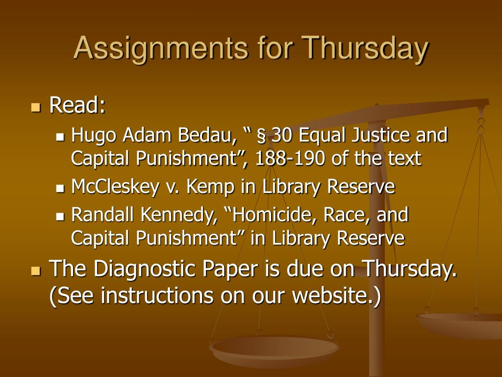 Assignments for Thursday