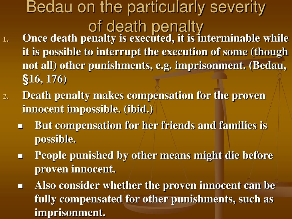 Bedau on the particularly severity of death penalty