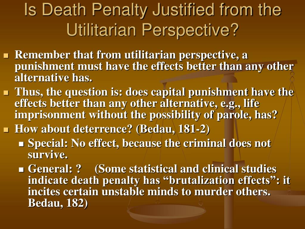 Is Death Penalty Justified from the Utilitarian Perspective?