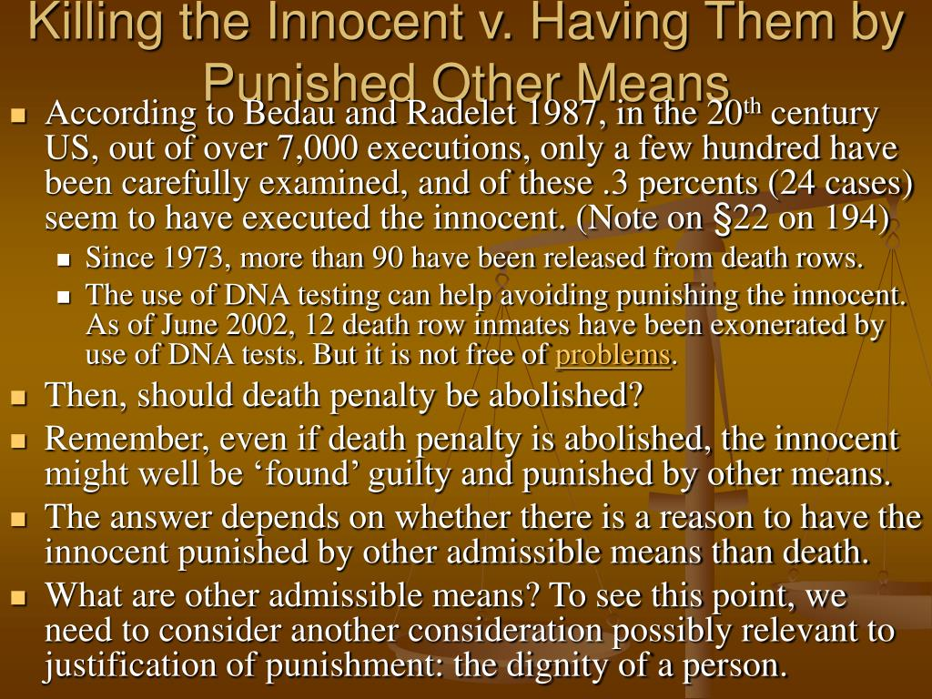Killing the Innocent v. Having Them by Punished Other Means