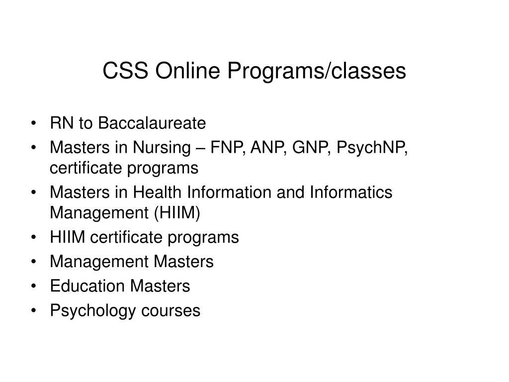 CSS Online Programs/classes