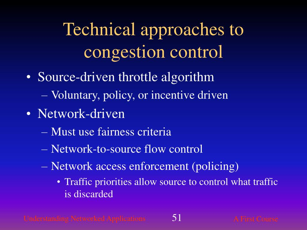 Technical approaches to congestion control