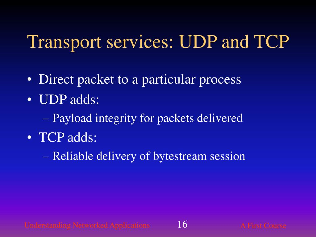 Transport services: UDP and TCP