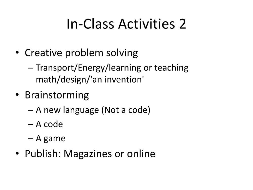 In-Class Activities 2