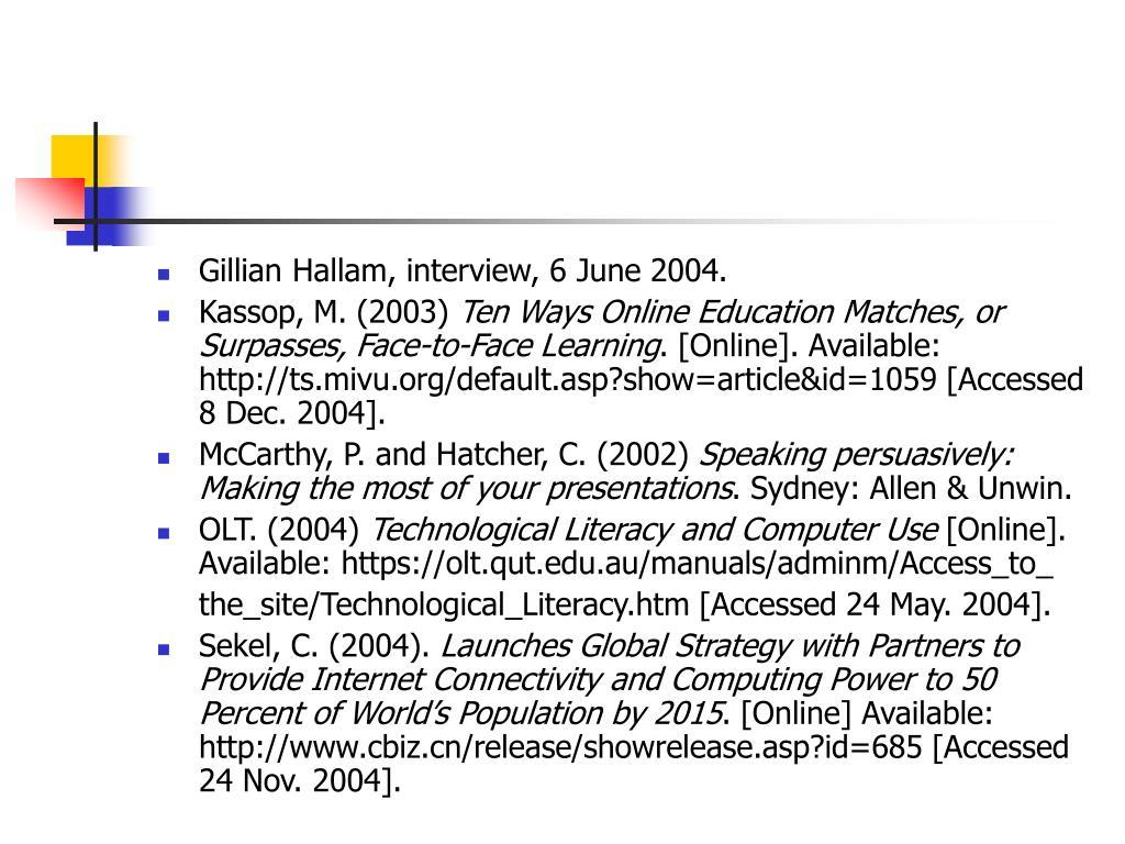 Gillian Hallam, interview, 6 June 2004.