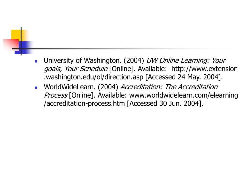 University of Washington. (2004)