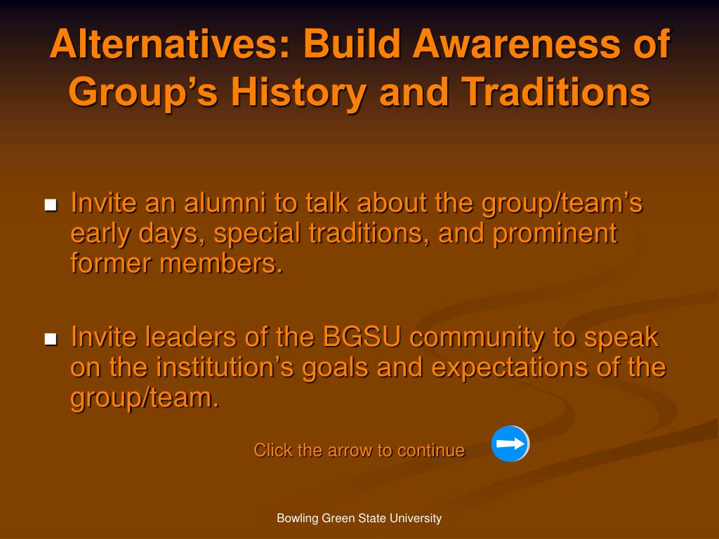 Alternatives: Build Awareness of Group's History and Traditions