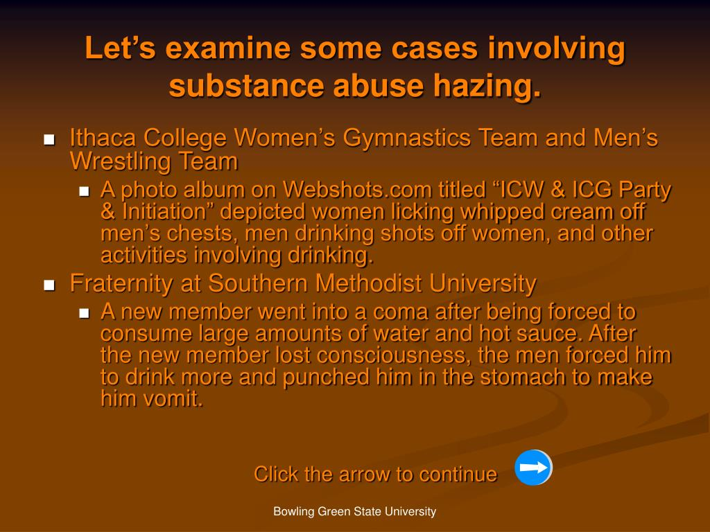 Let's examine some cases involving substance abuse hazing.