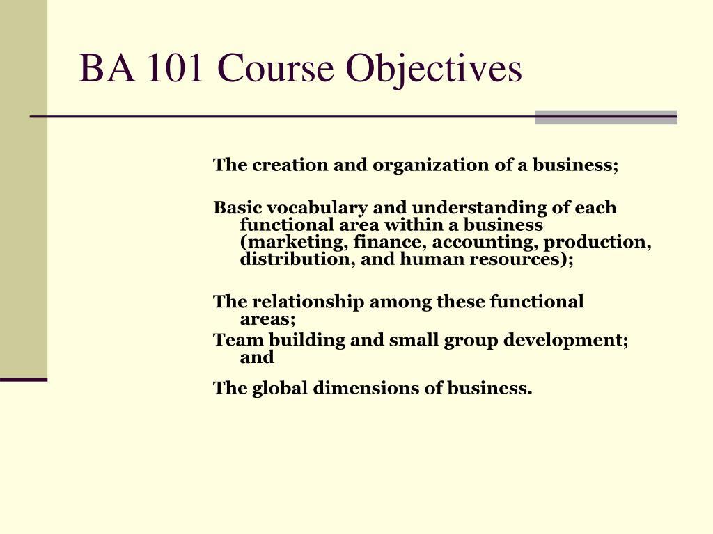 BA 101 Course Objectives