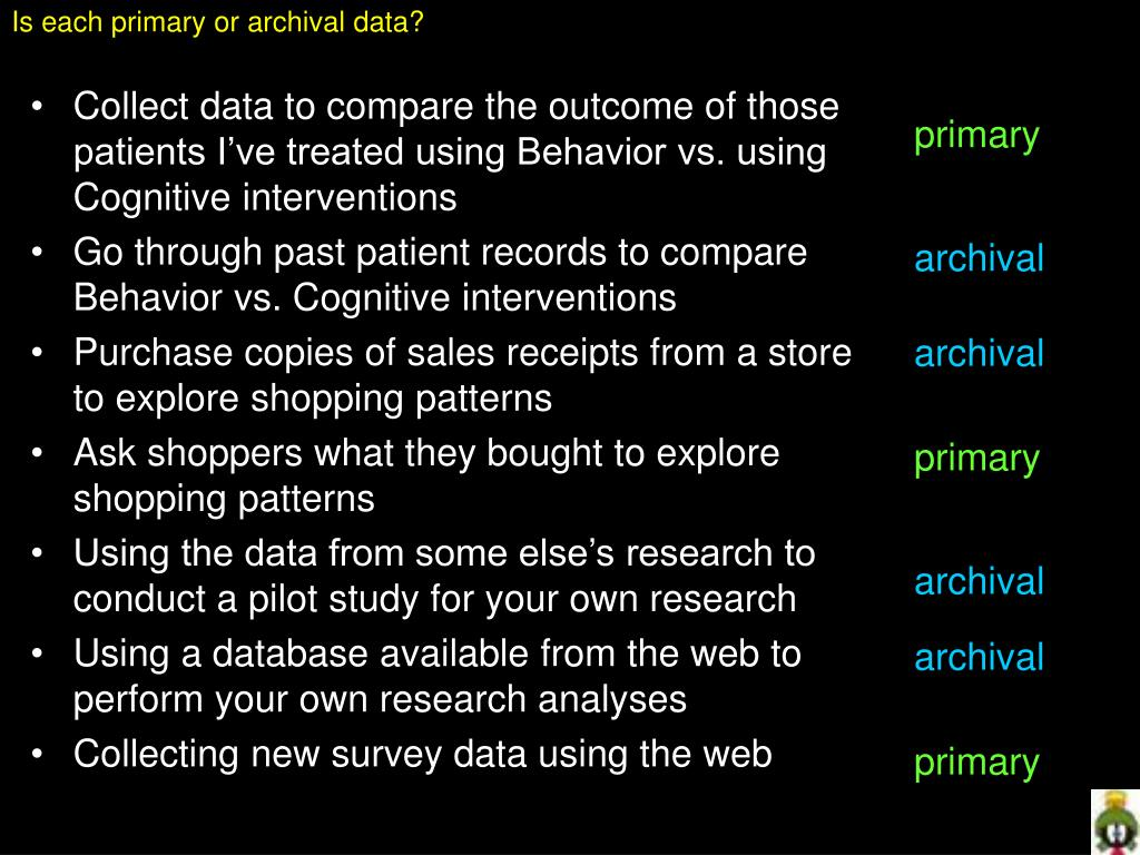 Is each primary or archival data?