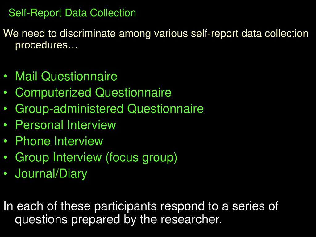 Self-Report Data Collection