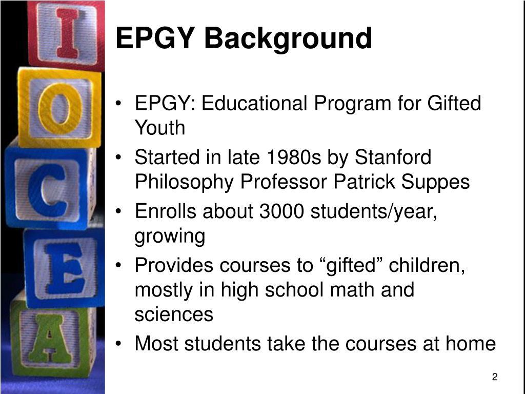EPGY Background