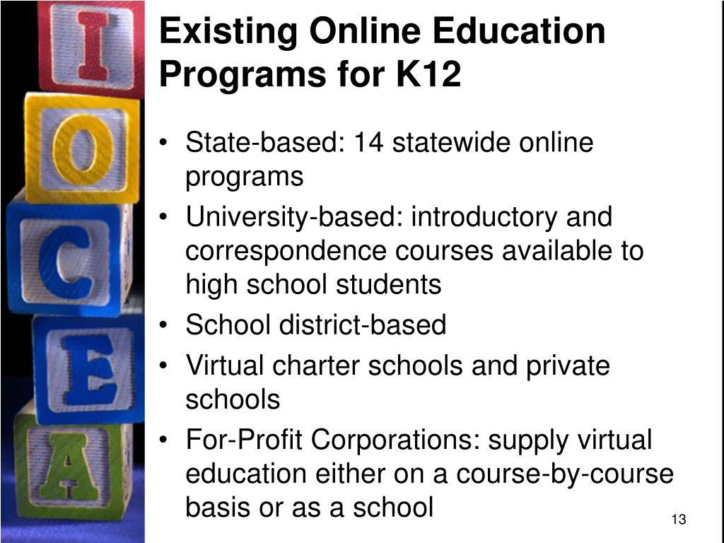 Existing Online Education Programs for K12