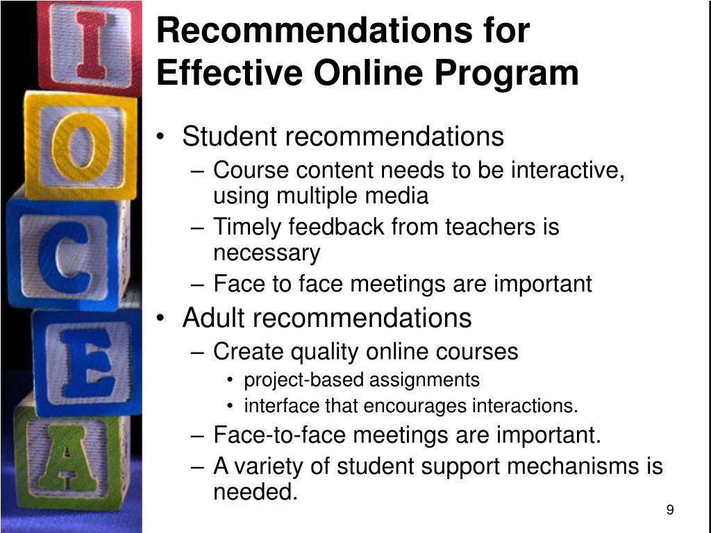 Recommendations for Effective Online Program