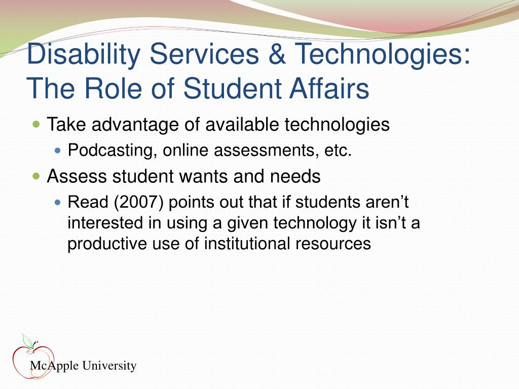 Disability Services & Technologies: The Role of Student Affairs