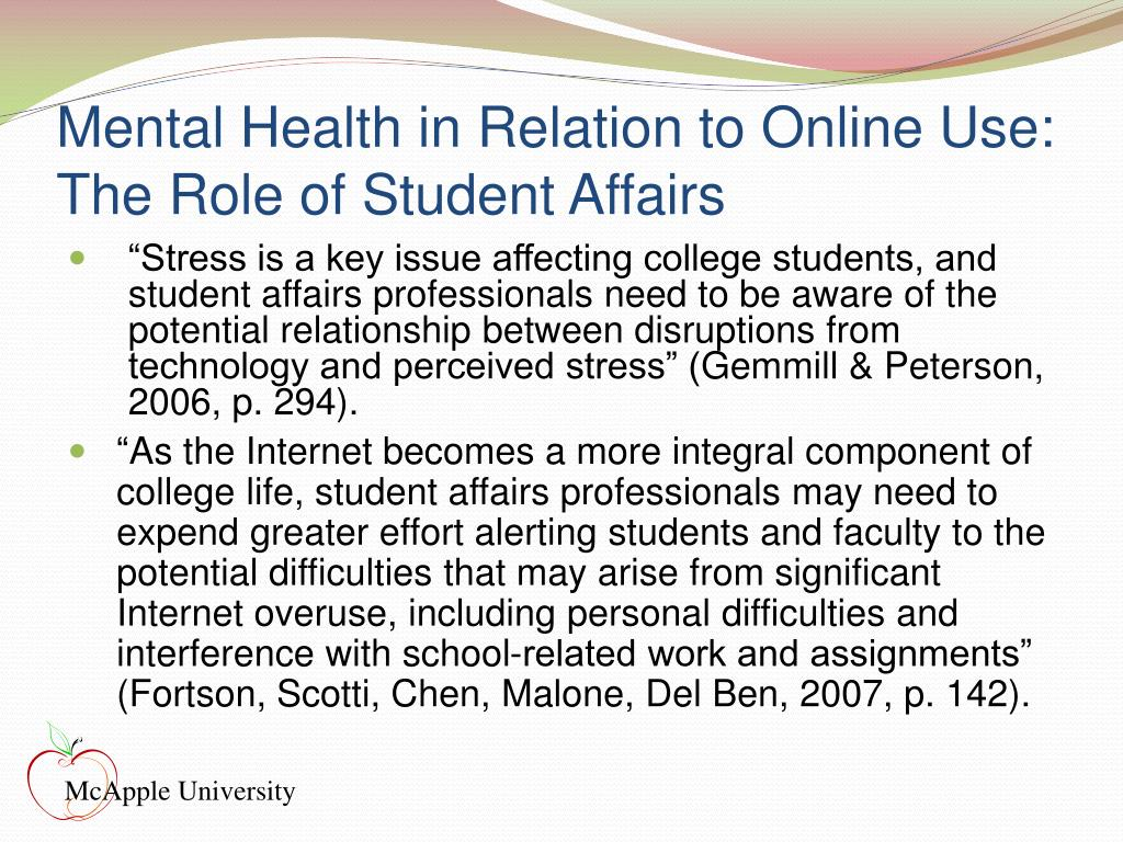 Mental Health in Relation to Online Use: