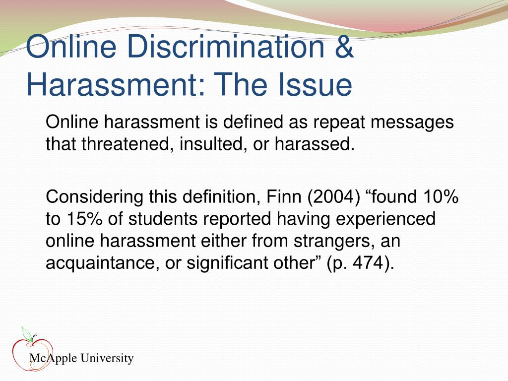 Online Discrimination & Harassment: The Issue