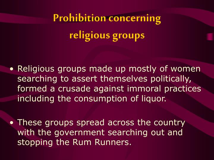 Prohibition concerning religious groups