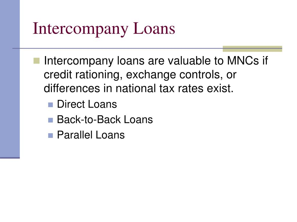 Intercompany Loans