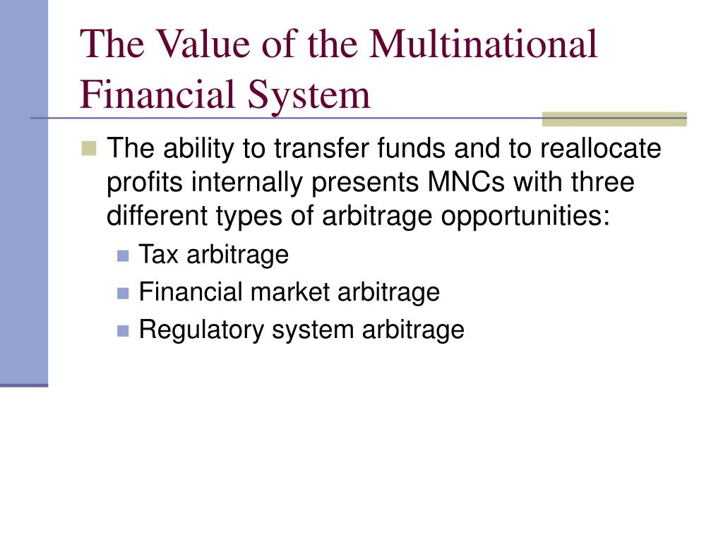 The Value of the Multinational Financial System
