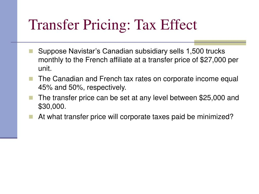 Transfer Pricing: Tax Effect