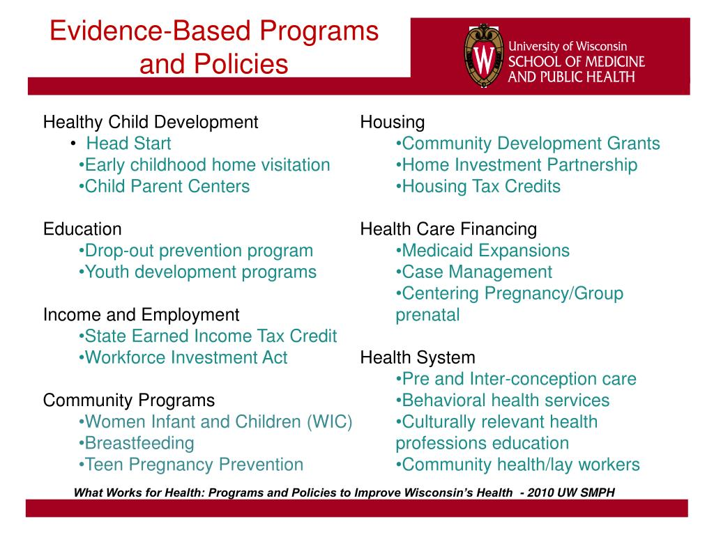 Evidence-Based Programs and Policies