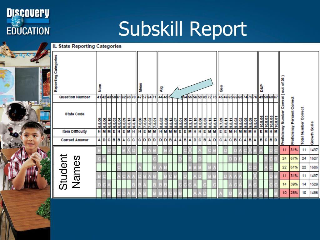 Subskill Report