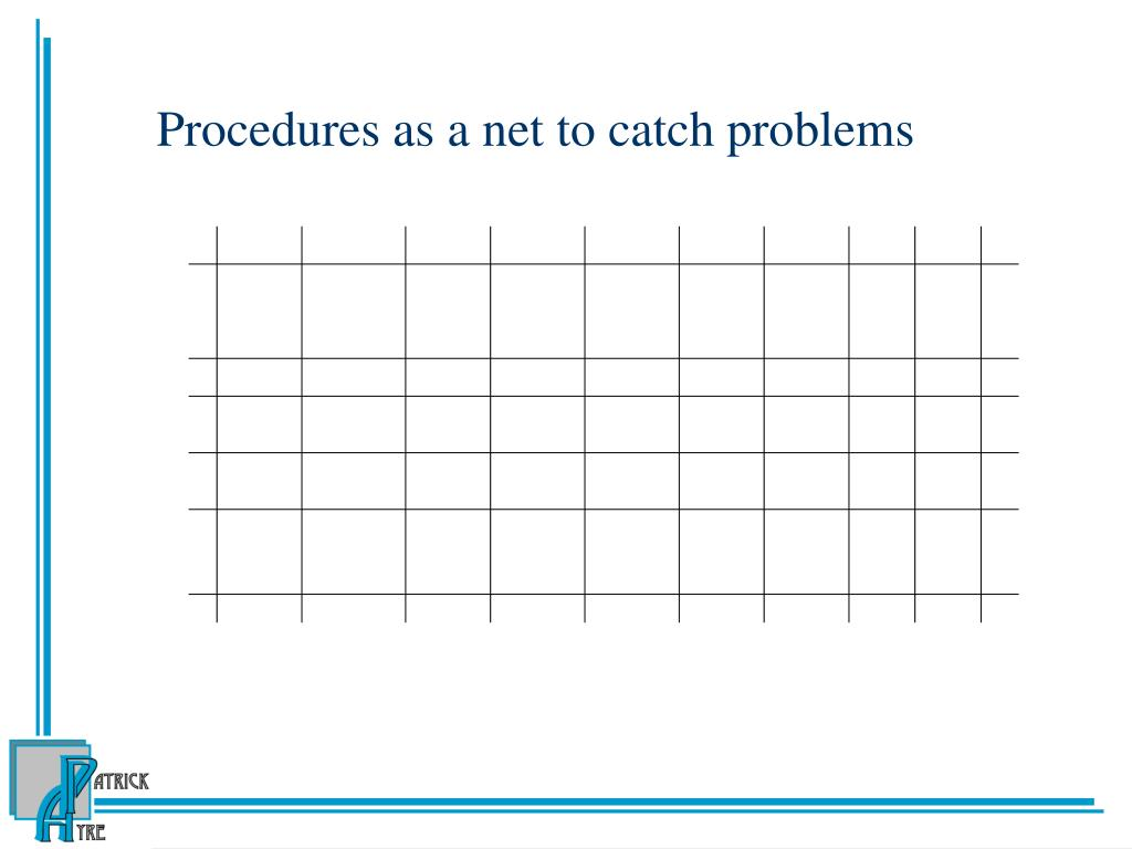 Procedures as a net to catch problems