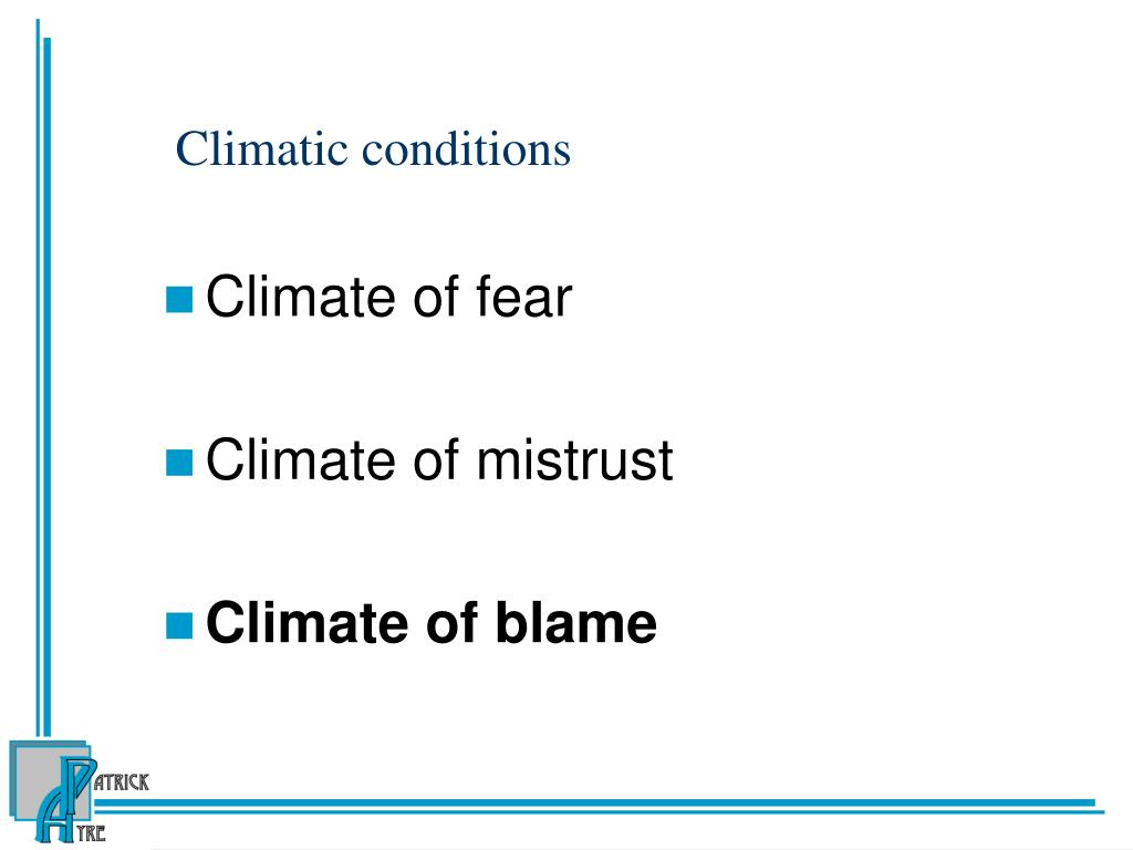 Climatic conditions