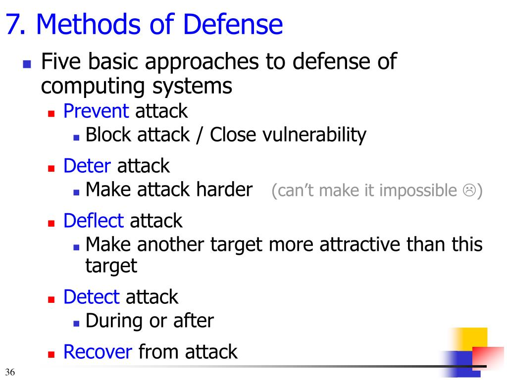 Five basic approaches to defense of computing systems