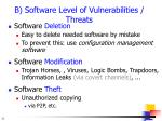 b software level of vulnerabilities threats