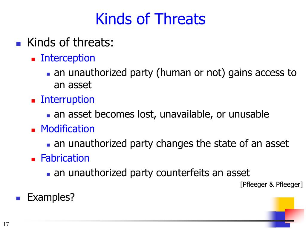 Kinds of threats: