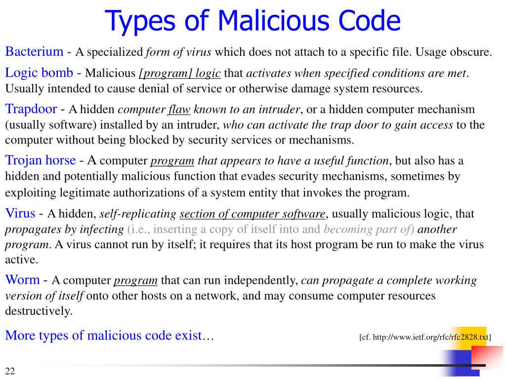 Types of Malicious Code