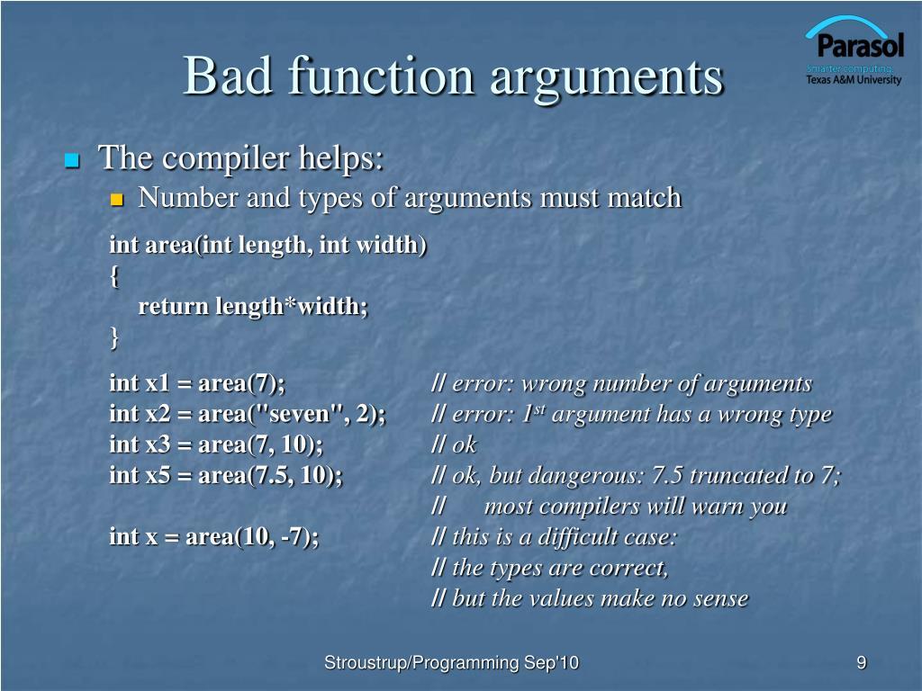 Bad function arguments