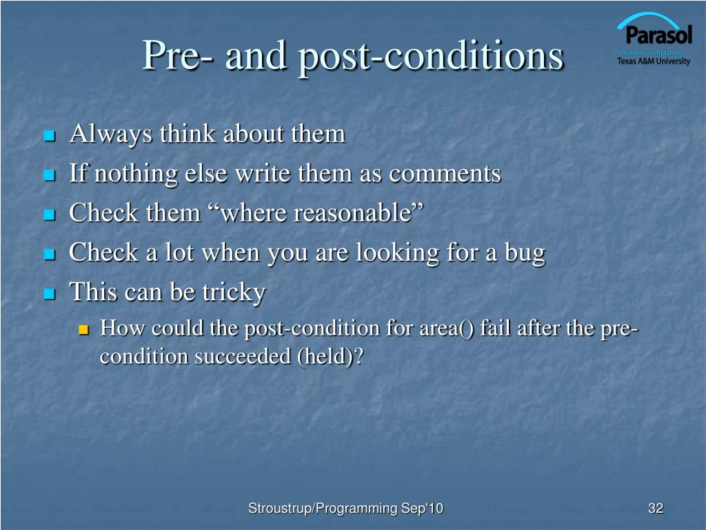 Pre- and post-conditions