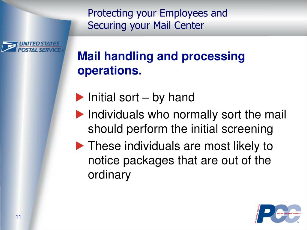 Mail handling and processing operations.
