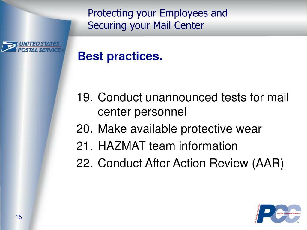 Best practices.