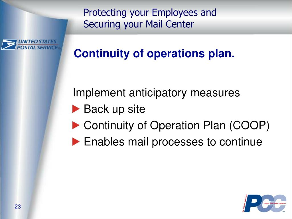 Continuity of operations plan.