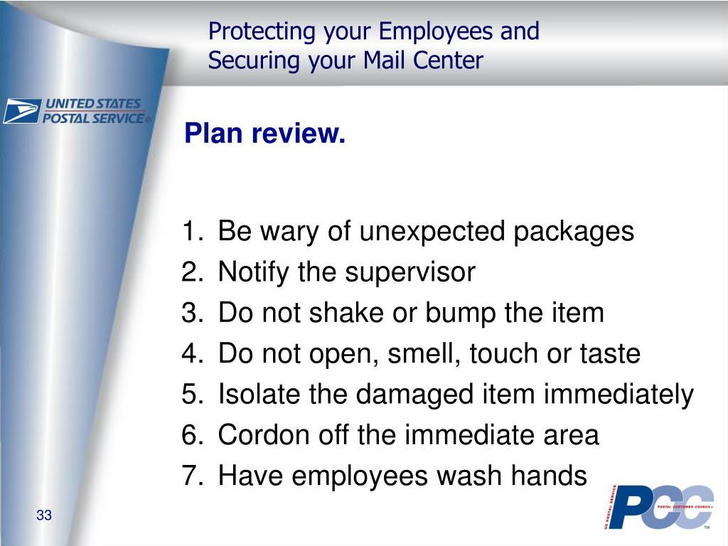 Plan review.