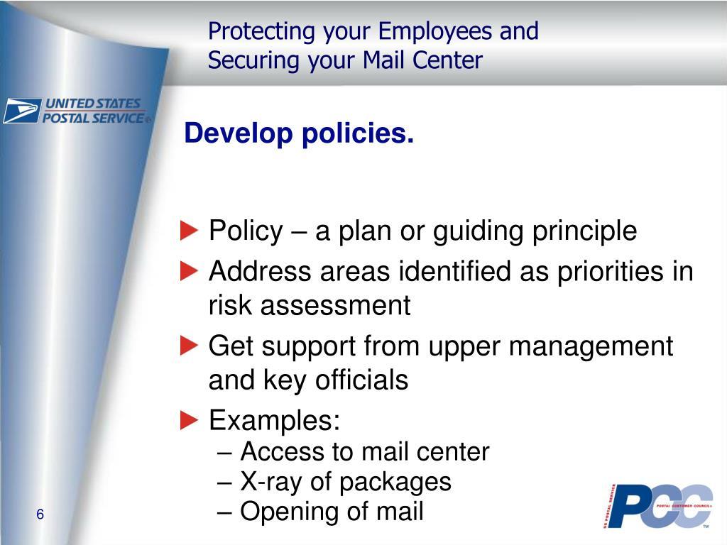 Develop policies.