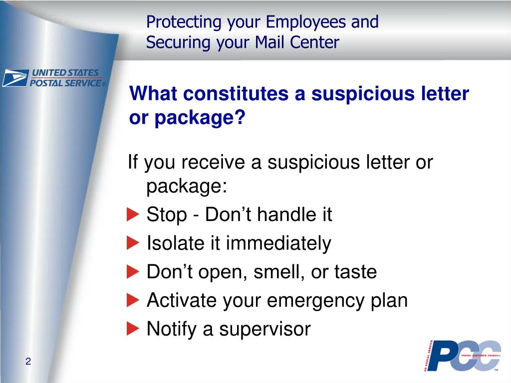 What constitutes a suspicious letter or package?