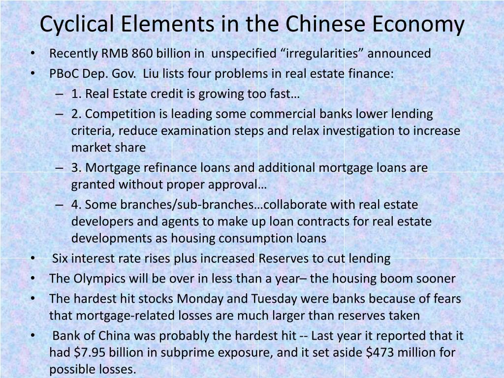 Cyclical Elements in the Chinese Economy