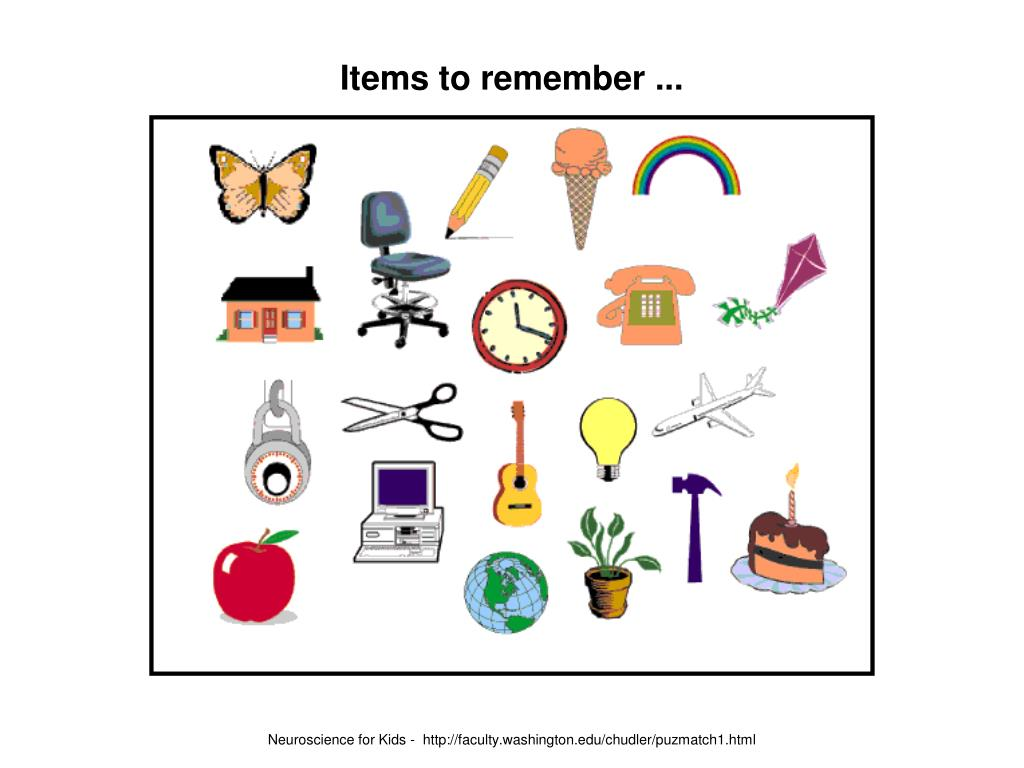 Items to remember ...