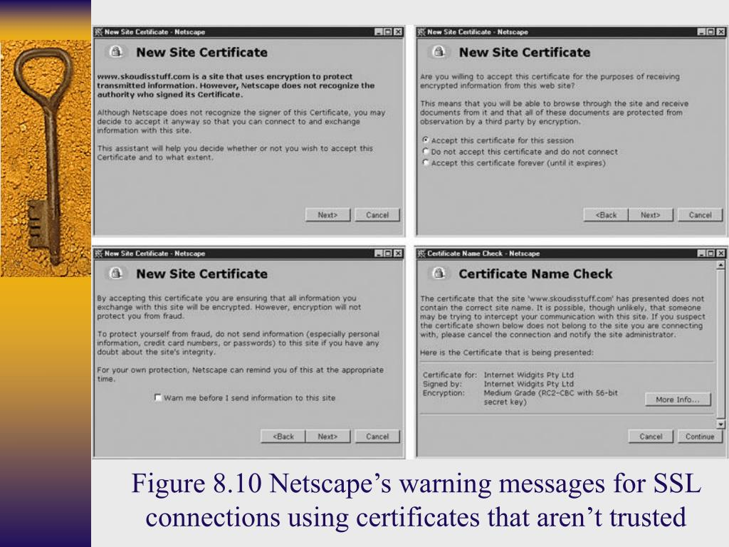 Figure 8.10 Netscape's warning messages for SSL connections using certificates that aren't trusted