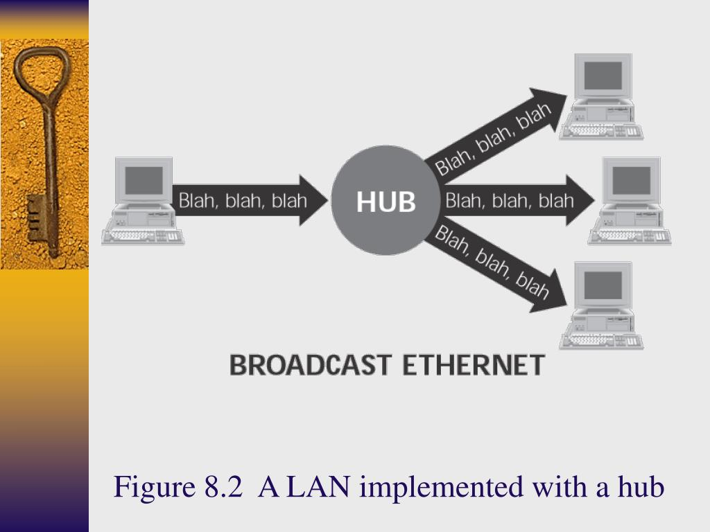 Figure 8.2  A LAN implemented with a hub