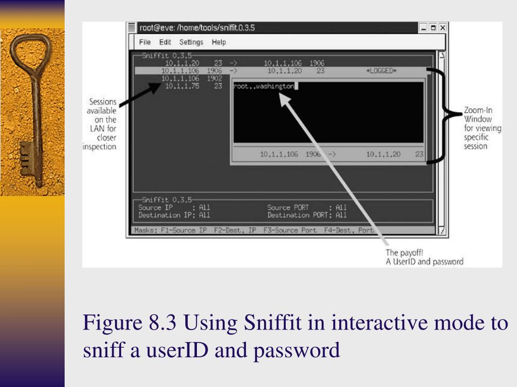 Figure 8.3 Using Sniffit in interactive mode to sniff a userID and password