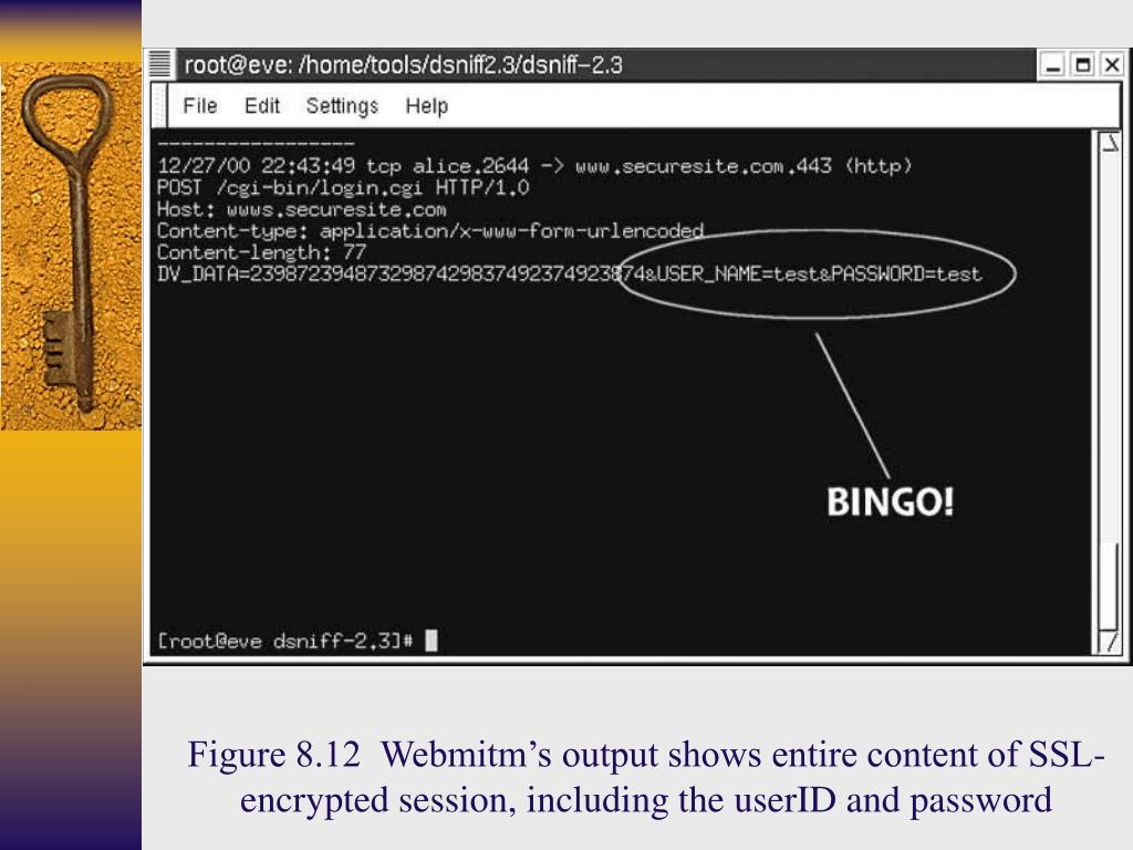 Figure 8.12  Webmitm's output shows entire content of SSL-encrypted session, including the userID and password