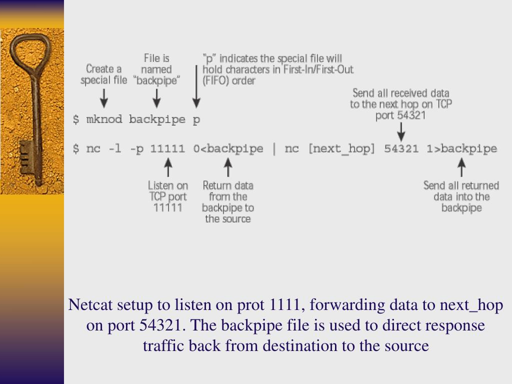 Netcat setup to listen on prot 1111, forwarding data to next_hop on port 54321. The backpipe file is used to direct response traffic back from destination to the source