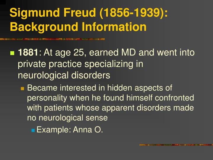 Sigmund freud 1856 1939 background information